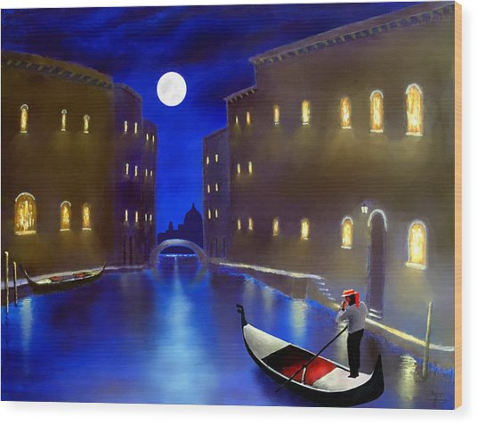 The Magic Nights Of Venice Lights  Wood Print