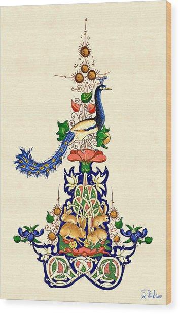 The Magnificent Peacock 2 Wood Print by Raffaella Lunelli
