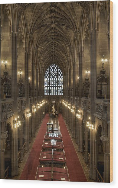 The Main Library Hall Wood Print by Dave Wood