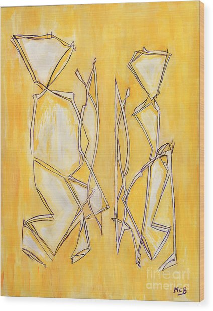 Unique Abstract Art Giclee Canvas Print Original Painting The Couple Decorator Line Art Yellow White Wood Print by Marie Christine Belkadi
