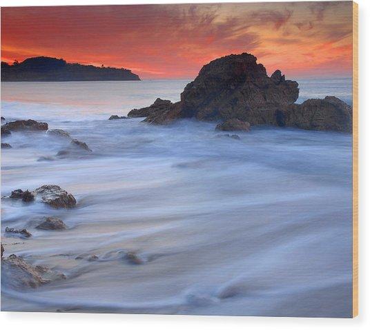 The Ocean Silk Wood Print