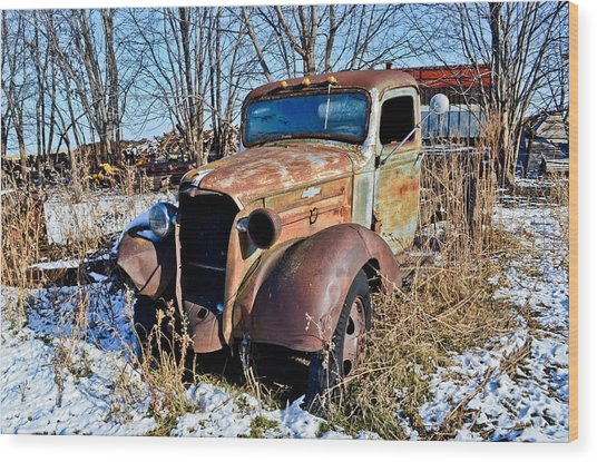The Old Chevy Wood Print by Brenda Becker