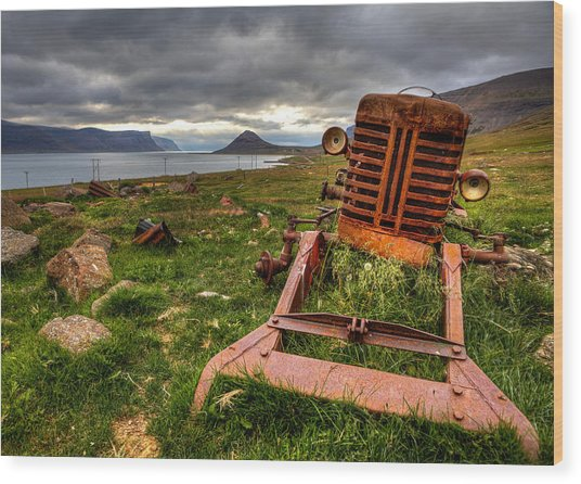The Old Rust Tractor Wood Print by Arnar B Gudjonsson