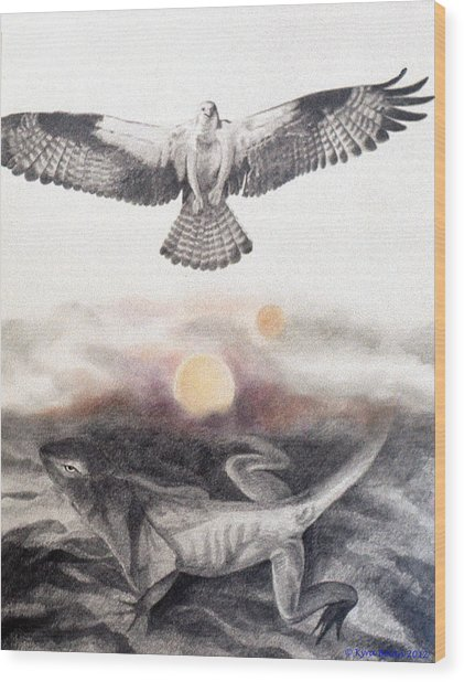 The Osprey And The Lizard Wood Print