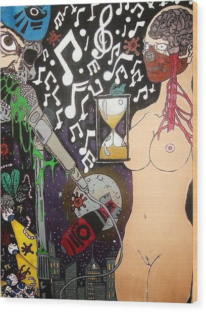 The Other Side Of Music Wood Print by Ragdoll Washburn