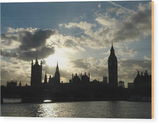The Outline Of Big Ben And Westminster And Other Buildings At Sunset Wood Print