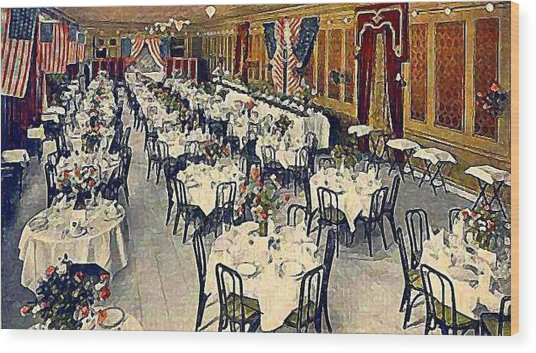 The Park Avenue Hotel Banquet Hall In 1910 Wood Print by Dwight Goss