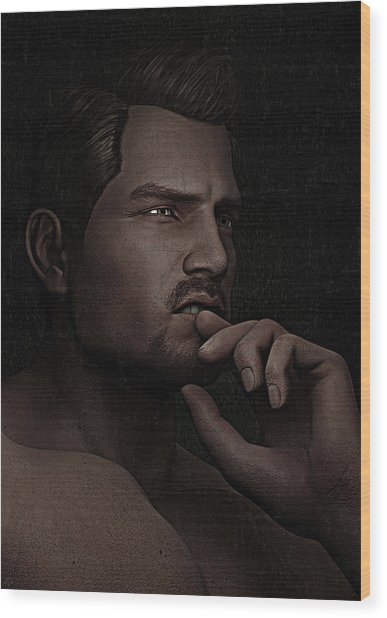 The Pensive Man - Cracked Colour Wood Print