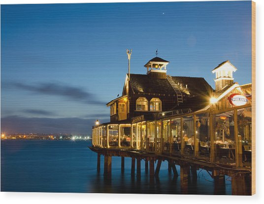 The Pier Cafe Wood Print