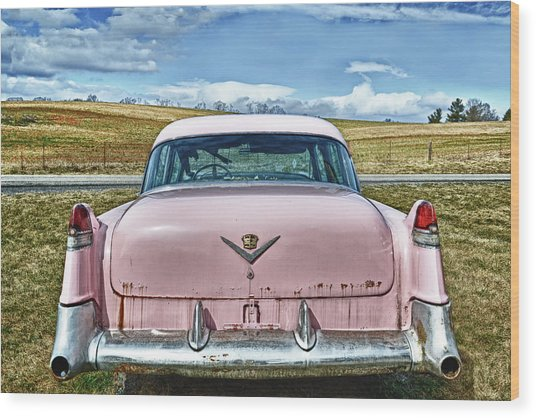 The Pink Cadillac Wood Print by Kathy Jennings