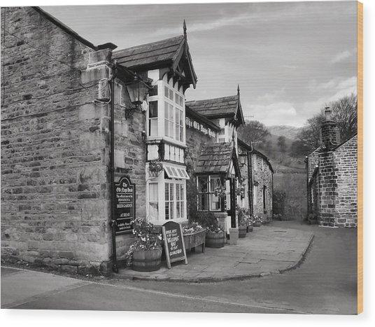 The Pub Bw Wood Print