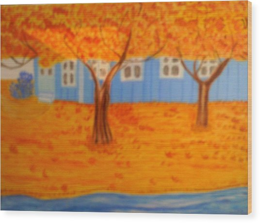 The Rays On Autumn Wood Print by Annette Stovall