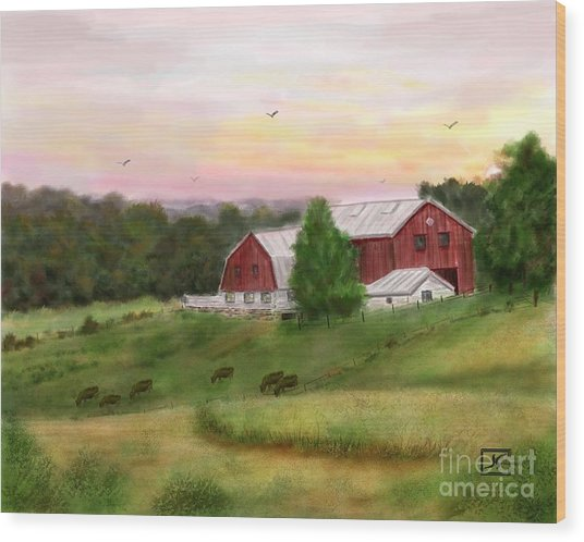 The Red Barn At Sunset Wood Print by Judy Filarecki