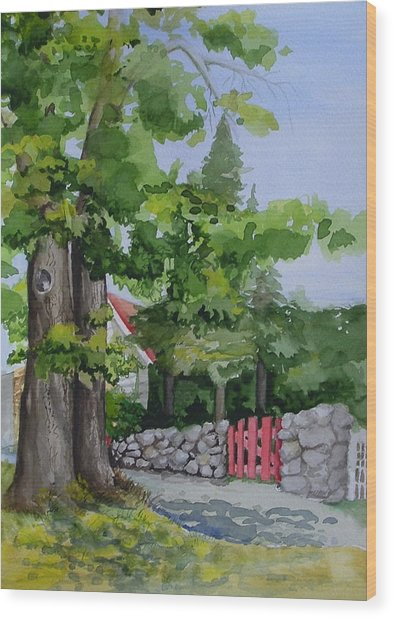 The Red Gate Wood Print by Judi Nyerges