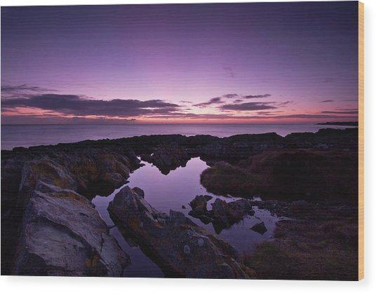 The Rock Pool At Dawn Wood Print