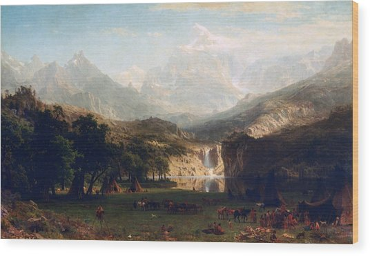 'the Rocky Mountains' By Albert Bierstadt Wood Print by Photos.com