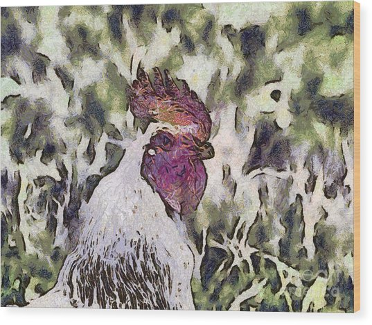The Rooster Portrait Wood Print by Odon Czintos