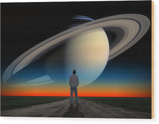 The Saturn Gaze Wood Print