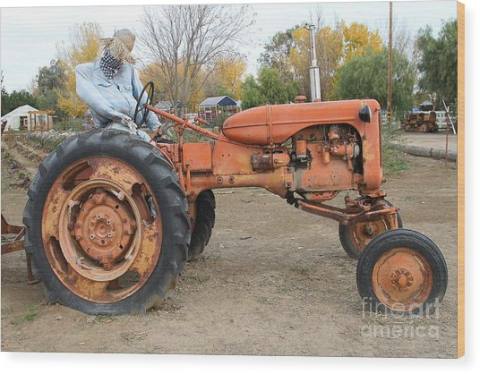 The Scarecrow Riding On The Old Farm Tractor . 7d10301 Wood Print by Wingsdomain Art and Photography