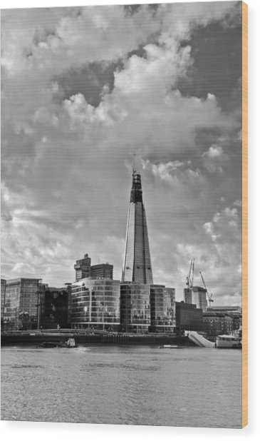 The Shard London Black And White Wood Print