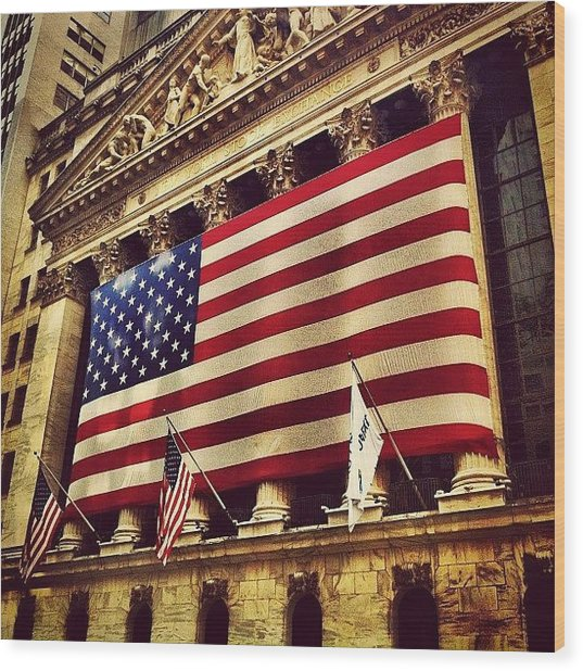 The Stock Exchange Gets Patriotic Wood Print