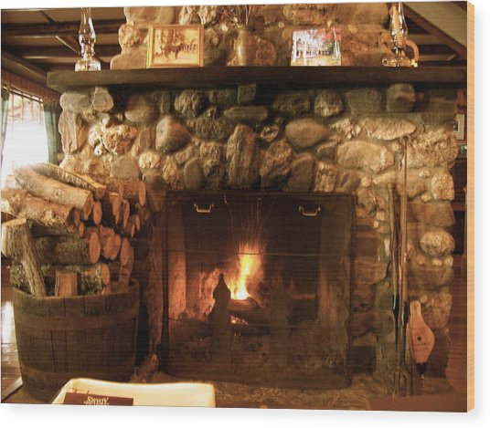 Stone Fireplace Wood Print