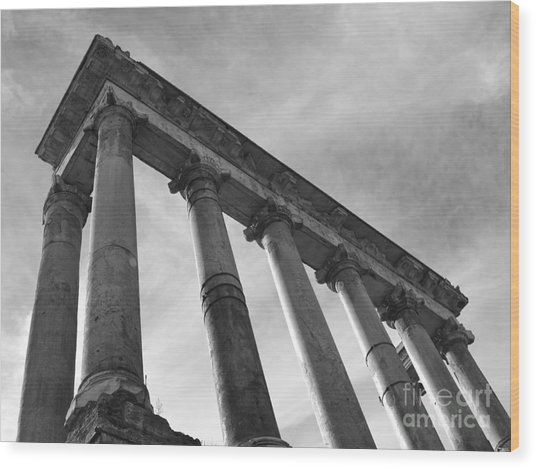 The Temple Of Saturn Wood Print by Chris Hill