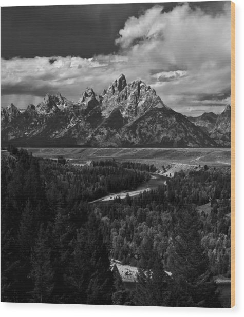 The Tetons - Il Bw Wood Print