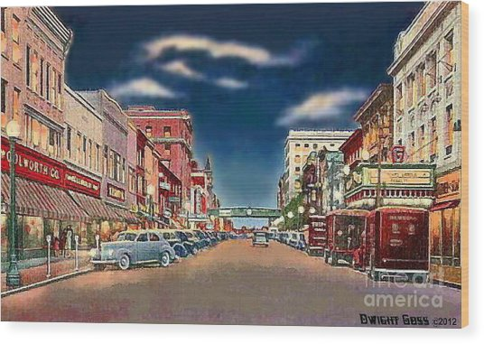 The Theater And Woolworth's In Norristown Pa In 1940 Wood Print