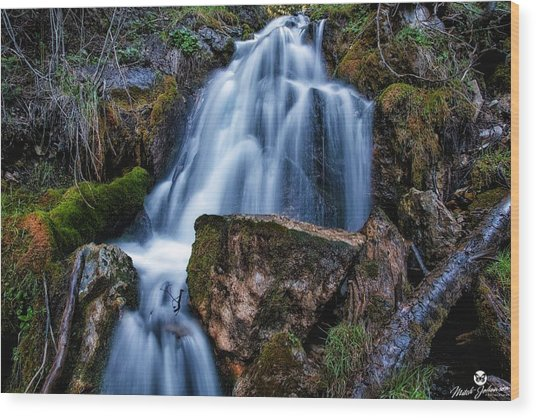 The Upper Butler Fork Falls Wood Print by Mitch Johanson