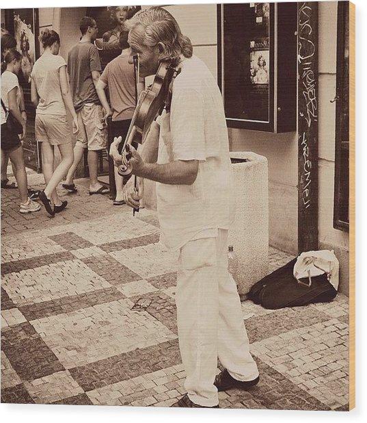 The Violin Player #man #praha #prague Wood Print
