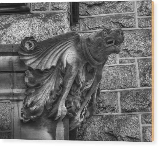 The Watchful Gargoyle Wood Print