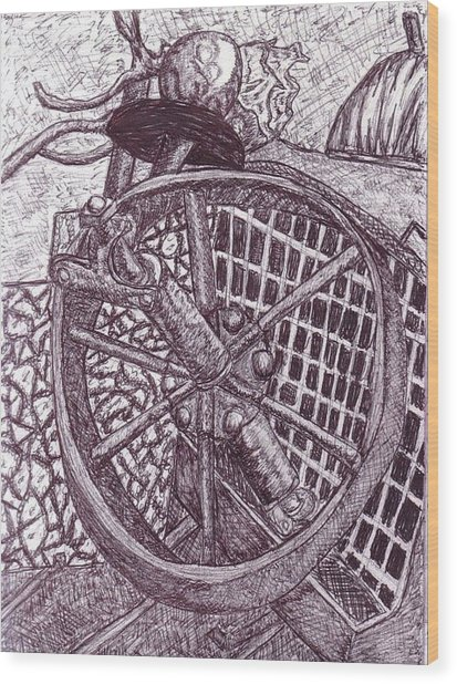 The Wheel Wood Print by Cecelia Taylor-Hunt