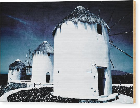 The Windmills Of Mykonos - Textured Blue Wood Print