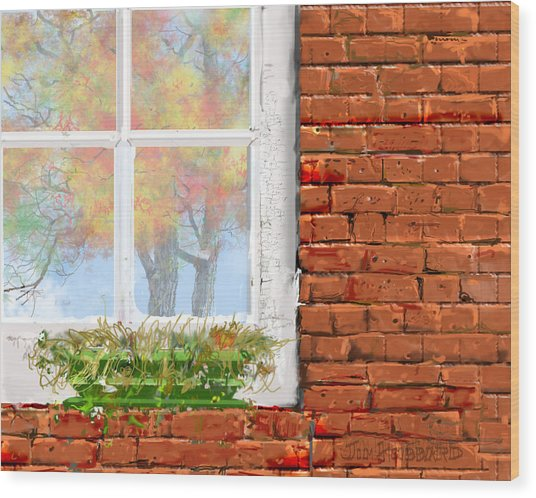The Window Triptych Fall Wood Print by Jim Hubbard