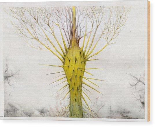 The Yellow Plant Wood Print by Bjorn Eek