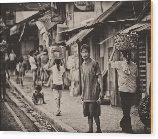 This Is The Philippines No.55 - The Carriers Wood Print by Paul W Sharpe Aka Wizard of Wonders