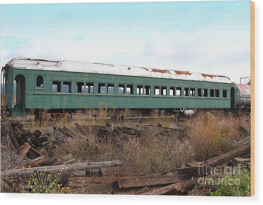 This Old Train Has Seen Better Days . 7d8994 Wood Print by Wingsdomain Art and Photography