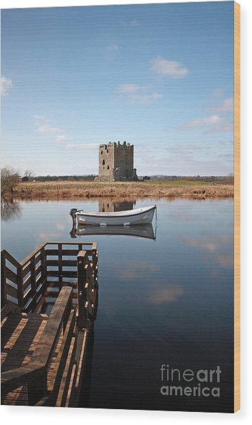 Threave Castle Reflection Wood Print