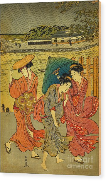 Three Beauties In The Rain 1788 Wood Print by Padre Art
