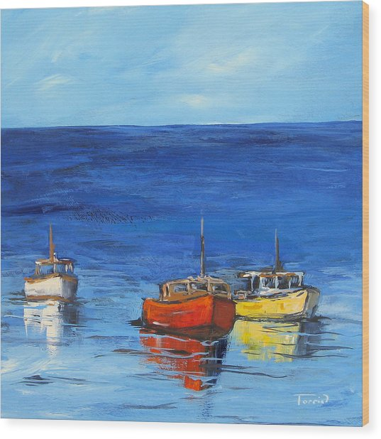 Three Boats Wood Print by Torrie Smiley