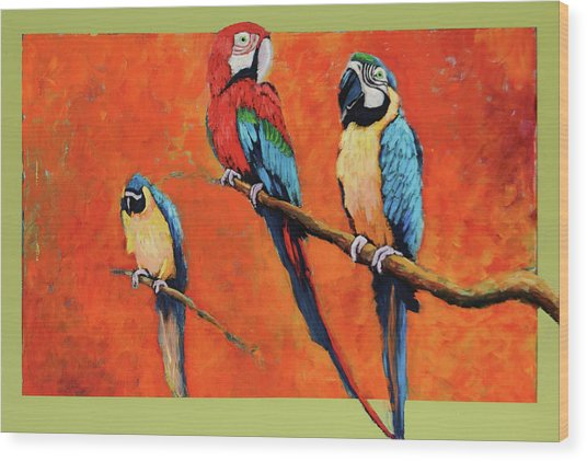 Captive Birds And Abstracted Rain Forest   Wood Print