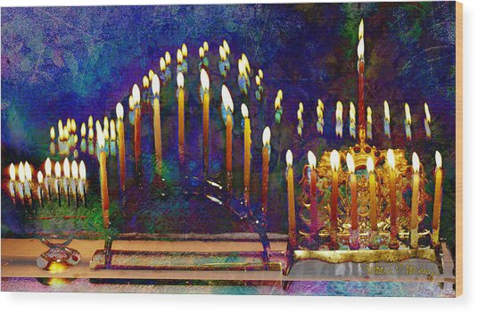 Three Menorahs Wood Print
