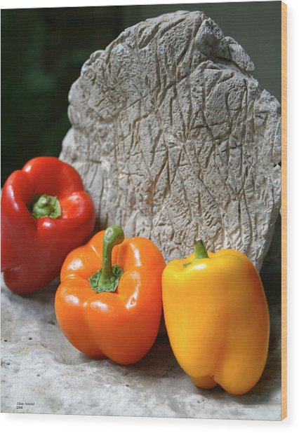 Three Peppers Wood Print by Jim  Arnold