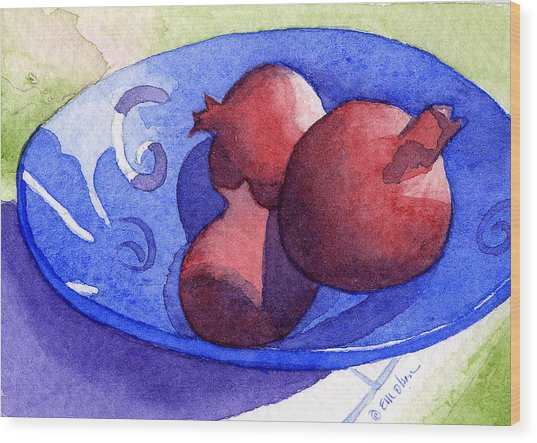 Three Poms In Blue Bowl Wood Print by Eunice Olson