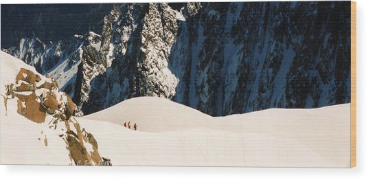 Three Skiers At Chamonix Wood Print