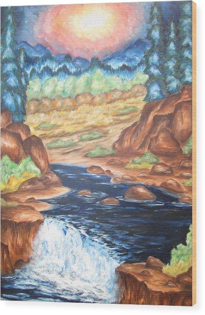 Thru The Mountains Wood Print