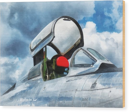 Thunderstreak Turbojet Cockpit Wood Print by Susan Savad
