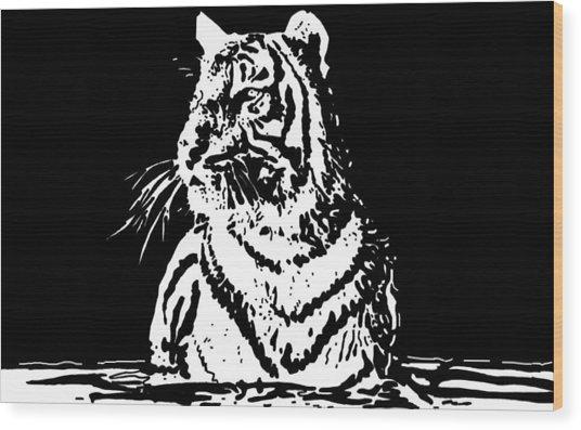Tiger 1 Wood Print by Lori Jackson