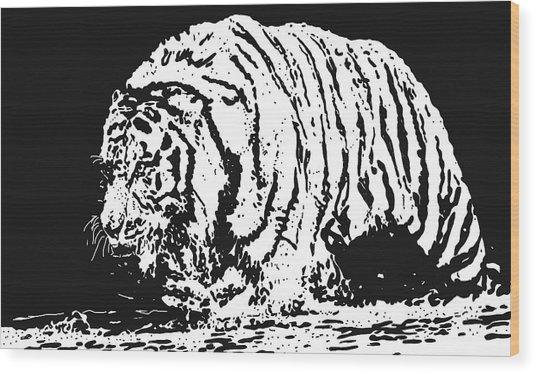Tiger 3 Wood Print by Lori Jackson